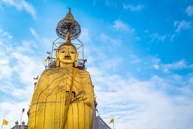 Big Standing Buddha at Wat Intharawihan temple, Bangkok