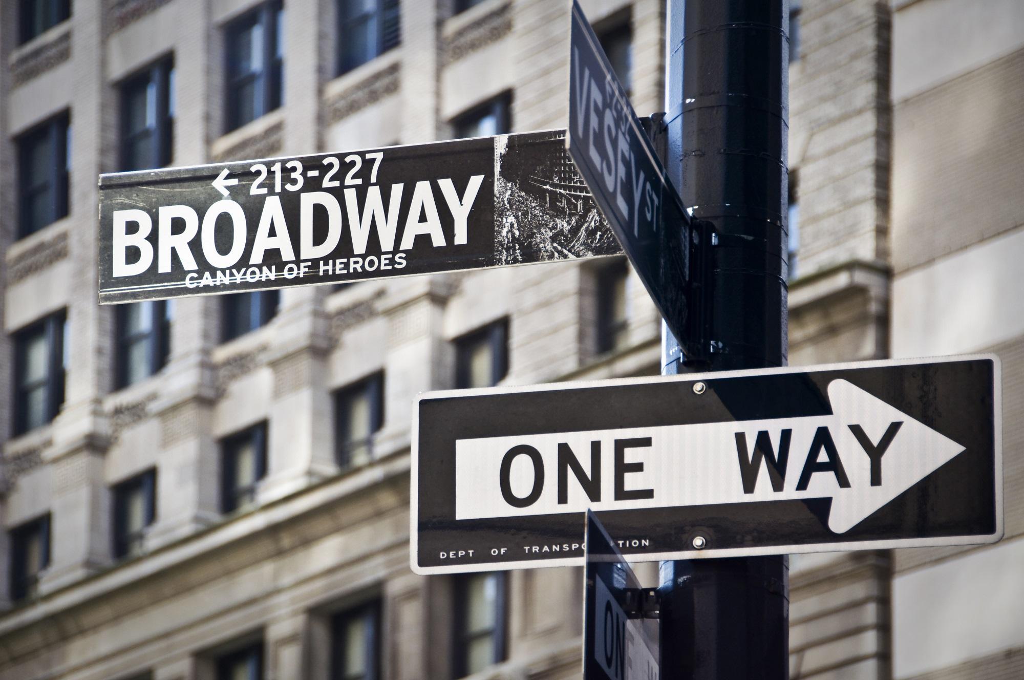 Panneau Broadway à New-York