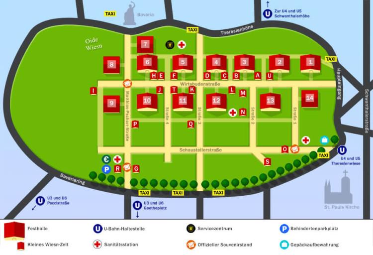 Plan des tentes de l'Oktoberfest